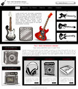 Website template design along with icons and images guitar music related Stock Photography