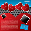 Website template design with hanging heart labels Royalty Free Stock Image