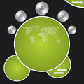 Website template with metallic buttons and world map cool Stock Image