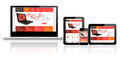 Website template on multiple devices responsive Royalty Free Stock Image