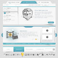 Website template navigation elements with icons set Royalty Free Stock Photo