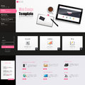 Website Template Vector Design with realistic still life illustration, tablet, coffee, notebook. Royalty Free Stock Photo