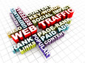 Website traffic web concept words in d over checked white floor Royalty Free Stock Photography