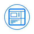 Website, web browser circular line icon. Round colorful sign. Flat style vector symbol.