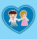 Wed vector illustration of bride and groom Stock Images