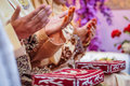 Wedded couple s hands praying two pairs of newly raised in a prayer Stock Images