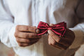 Wedding accessories. Groom holding red bow tie in his hand Royalty Free Stock Photo