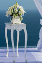 Wedding altar in white blue and theme Stock Photography