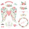 Wedding Angel Wing Vintage Flowers Wreath