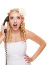 Wedding angry woman fury bride talking on phone relationship difficulties the screaming isolated white Stock Photos
