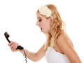 Wedding angry woman fury bride talking on phone relationship difficulties the screaming isolated white Royalty Free Stock Photo