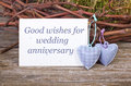 Wedding anniversary card twigs hearts Stock Photo