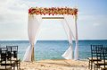 Wedding arch on the beach beautiful Stock Photo
