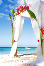 Wedding arch with flowers on beach decorated Royalty Free Stock Photography