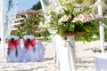 Wedding arch and set up on beach Royalty Free Stock Photos