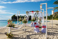 Wedding arch and set up on beach Stock Images