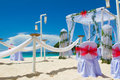 Wedding arch and set up on beach Stock Image