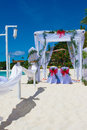 Wedding arch and set up on beach Stock Photos