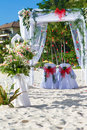 Wedding arch and set up on beach Royalty Free Stock Photo