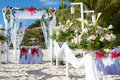 Wedding arch and set up on beach Royalty Free Stock Images