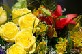 Wedding arrangement with yellow roses and other flowers Royalty Free Stock Images