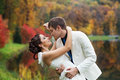 Wedding in autumn park Royalty Free Stock Photo