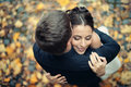 Wedding in autumn park couple celebrating Royalty Free Stock Photography