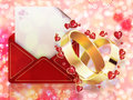 Wedding background beautiful card with two rings and red envelope Stock Photography