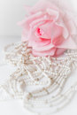 Wedding background with rose and beads Stock Photography