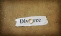 Wedding band divorce text on ripped paper with gold Stock Photography