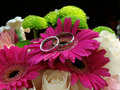 Wedding bands rested pink gerbera daisy bouquet Stock Image