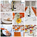Wedding banquet collage a of or catering service Stock Photography