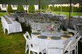 Wedding banquet white tables set up for Royalty Free Stock Photos