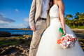 Wedding on the beach groom holding bride Royalty Free Stock Image