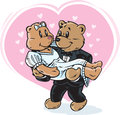 Wedding bears drawing of teddy getting married Royalty Free Stock Photo