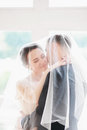 Wedding.Beautiful bride and groom portrait with veil over face. Stylish Loving wedding couple kissing and hugging Royalty Free Stock Photo