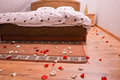 Wedding bed ready for the new couple with champagne and rose leaves all over the room Royalty Free Stock Photos