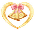 Wedding bells with hearts and a pink bow in a gold frame with a floral oriental ornament. Illustration Royalty Free Stock Photo