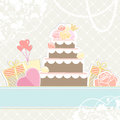 Wedding or birthday cake with gifts retro illustration in muted pastel colours of a multi tiered decorated roses and heart shaped Stock Photography