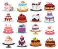 Wedding and birthday cakes isolated dishes, dessert with flowers and fruits Royalty Free Stock Photo