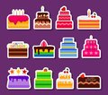 Wedding or Birthday vector pie cakes stickers icons set. Cake sweets dessert bakery in flat style. Delicious stickers on