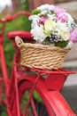 Wedding bouquet into basket closeup Stock Image