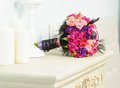 Wedding bouquet beautiful colorful roses bride Stock Photography