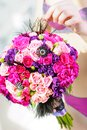 Wedding bouquet beautiful colorful roses bride Stock Image
