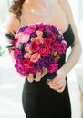 Wedding bouquet beautiful colorful roses bride Royalty Free Stock Photos