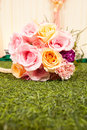 Wedding bouquet beautiful flowers on the green grass Royalty Free Stock Images