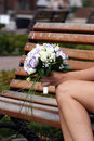 Wedding bouquet bride holding outdoors Royalty Free Stock Photo