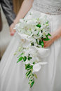 Wedding bouquet bride holding a white in her arms Royalty Free Stock Image