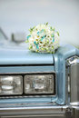 Wedding Bouquet on Car Stock Photo