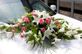 Wedding bouquet on the car Royalty Free Stock Photo